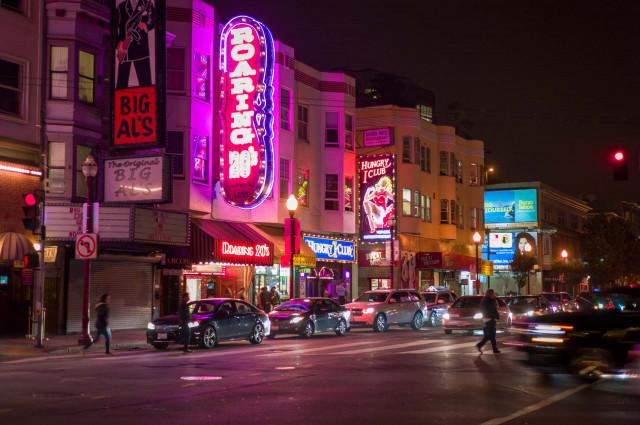 Broadway in San Francisco at night (Matt Dayka/For Motor Authority)
