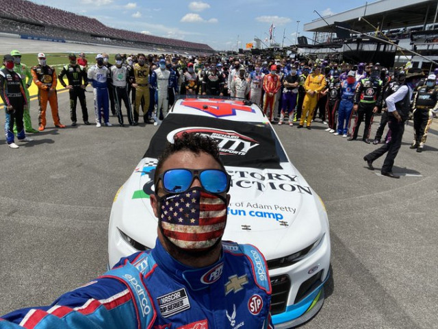 Bubba Wallace at the GEICO 500 with supporters