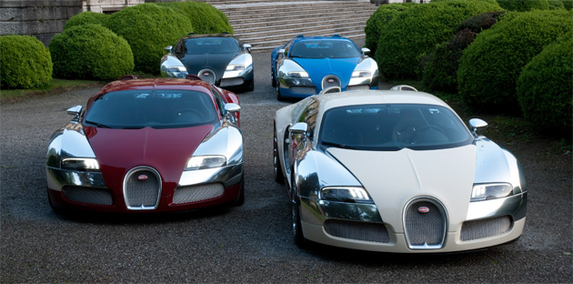 Bugatti has unveiled four different Centenaire Veyrons at this past weekend's Concorso d'Eleganza Villa d'Este