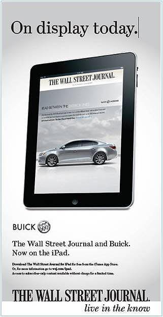 Buick ad on the Wall Street Journal iPad app