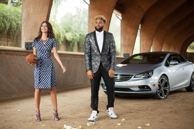 Emily Ratajkowski and Odell Beckham Jr. in a scene from Buick's Super Bowl 50 spot