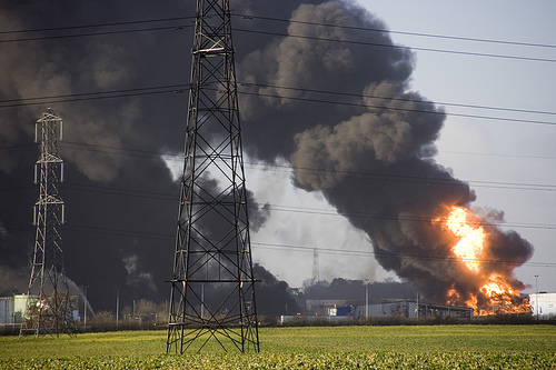 Buncefield Fuel Depot explosion, by Flickr user r12a