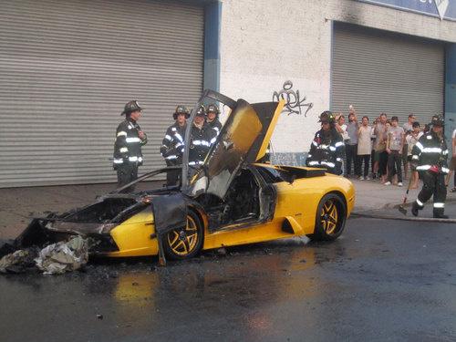 Stolen Lamborghini Murcielago left to burn