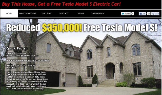 Buy this house, get a free low reservation number for a 2012 Tesla Model S electric luxury sedan!