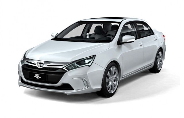 BYD Qin plug-in hybrid sedan, unveiled at Beijing International Automotive Exhibition, April 2012