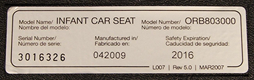 Car seat label - on NHTSA website