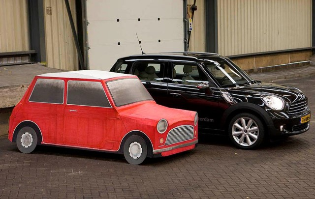 Cardboard 1959 Morris Mini Minor fits in Mini Countryman (Photo by 'Practical Classics')