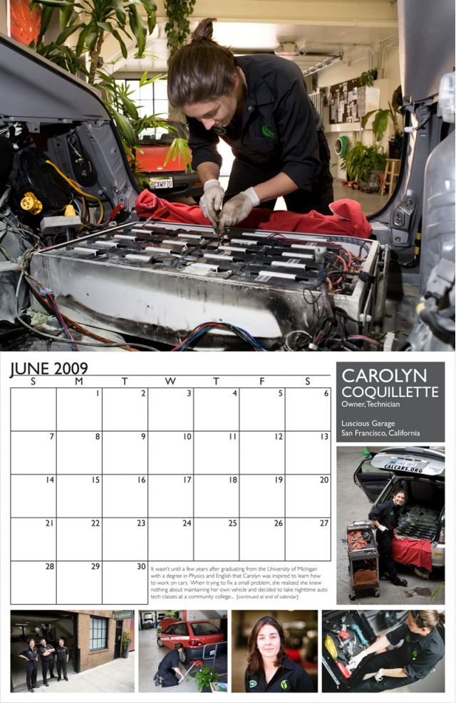 Carolyn Coquillette featured in 2009 Female Mechanics Calendar