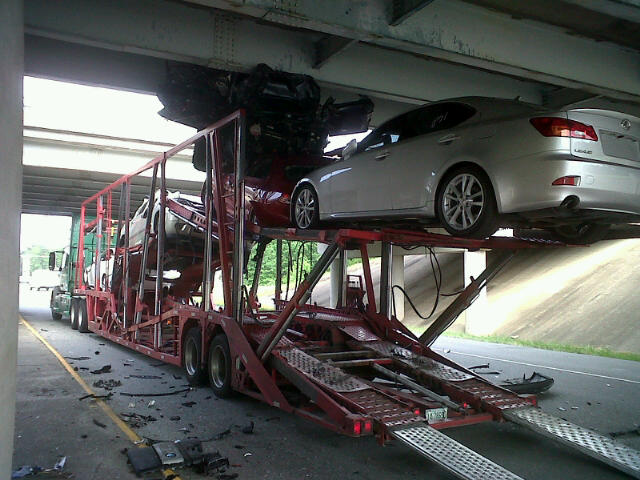 Car Transporter Meets Bridge, Cars Lose