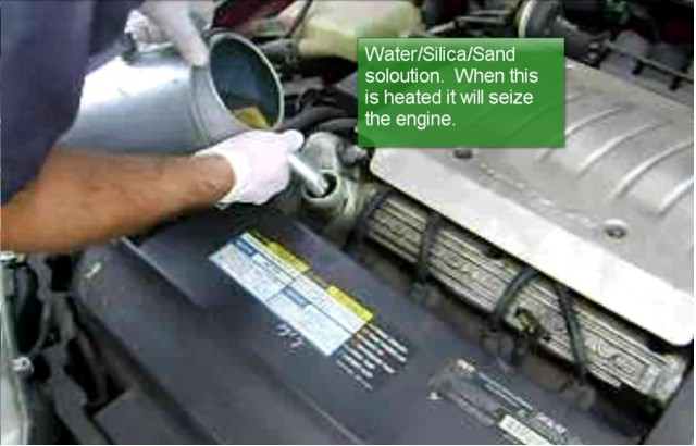 Cash-for-Clunkers engine destruction, using sodium silicate solution, from Wayzata Nissan
