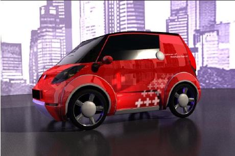 Catecar Swiss green high-tech urban vehicle rendering, Jan 2012