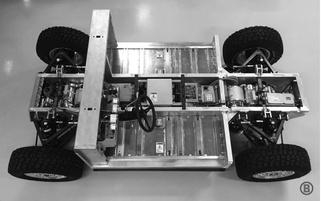 Chassis of Bollinger electric off-road utility truck