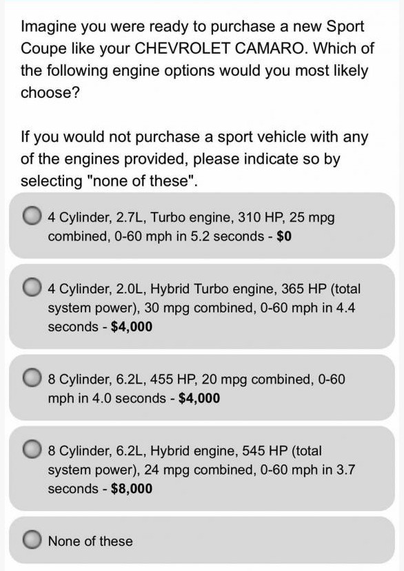 Chevrolet Camaro hybrid customer survey