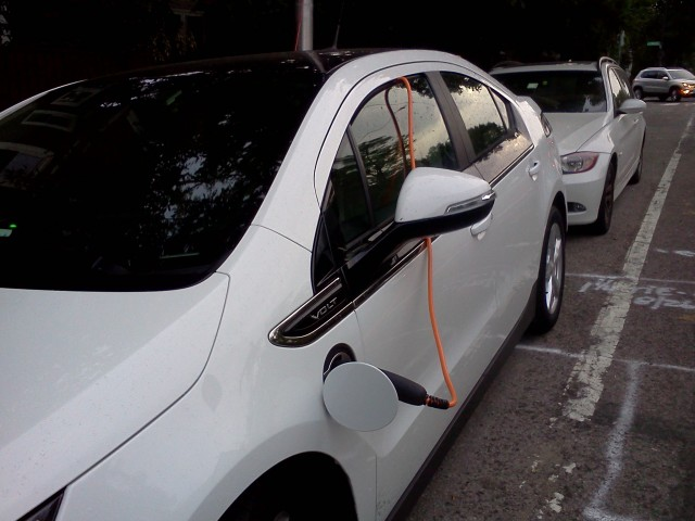 Chevy Volt recharging on the street in Cambridge, MA   [photos: John C. Briggs]