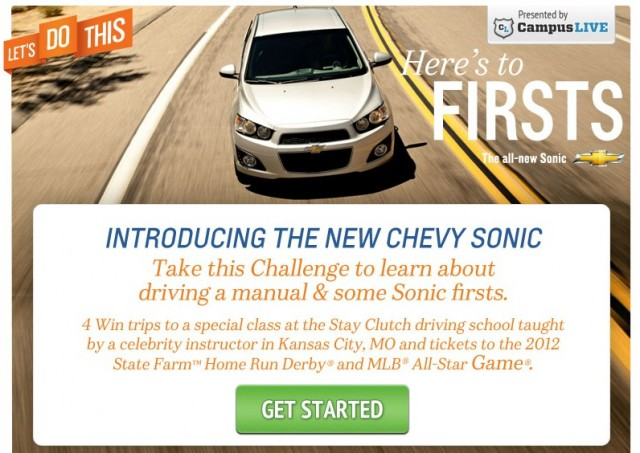 Chevy's 'Stay Clutch' promo for the Chevrolet Sonic