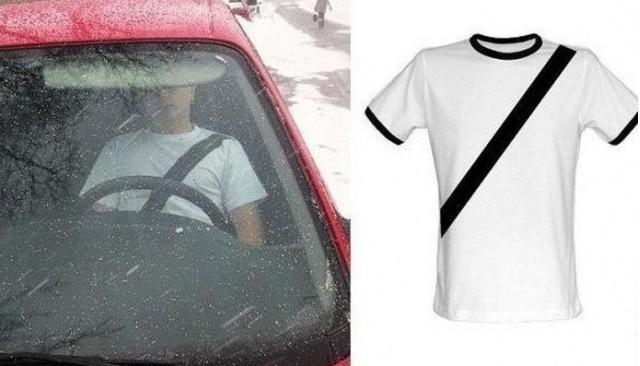 Fashion To Fool The Fuzz: Chinese T-Shirts Look Like Seatbelt Straps