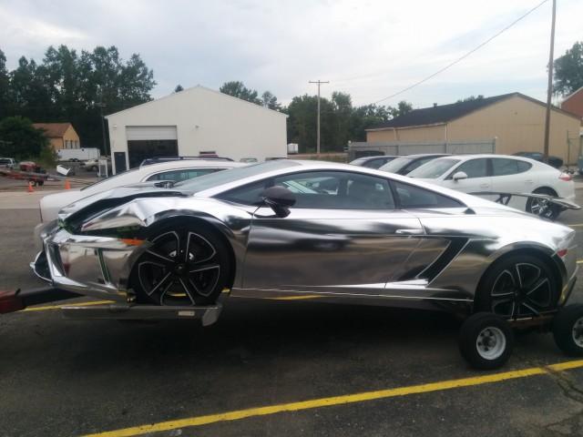 Chrome-wrapped Lamborghini Gallardo crashed in East Lansing, MI. Photos by Sheldon Little.