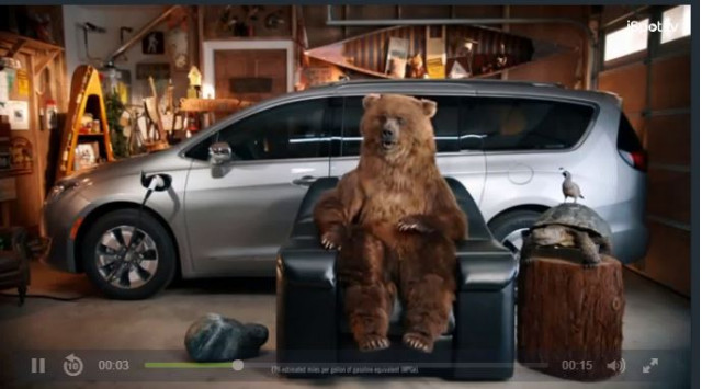 Chrysler Pacifica hybrid bear c ommercial still