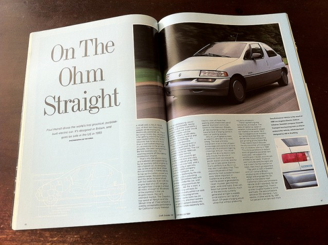 CleanAir LA301 range-extended electric car, October 91 issue of CAR magazine