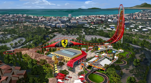 Concept drawing for Ferrari Land theme park in Barcelona, Spain