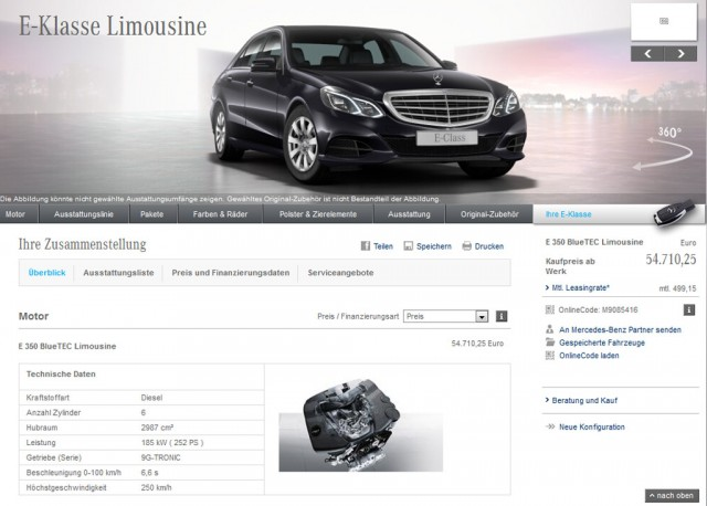 Configurator on Mercedes-Benz's German website showing a nine-speed automatic option