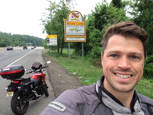 Crossing the state line into Maryland on a recent electric-motorcycle road trip [photo: Ben Rich]