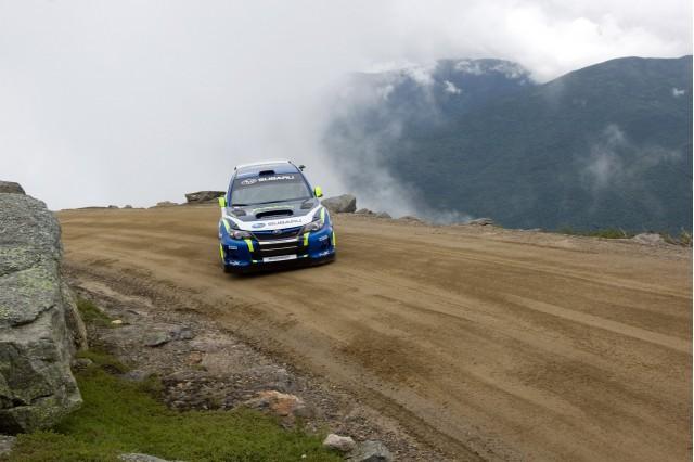 David Higgins drives a Subaru WRX to new Mt. Washington record