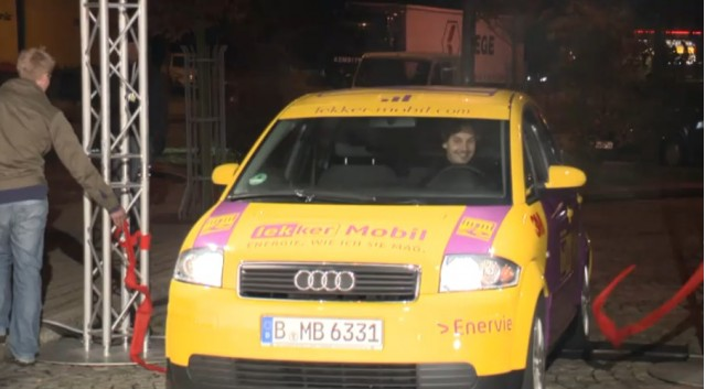 Screenshot of DBM Energy's Audi A2 crossing the finish line of 375 mile drive.