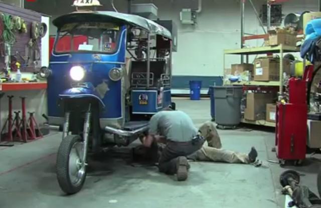 Denver Zoo's poop-powered rickshaw [screen capture from Denver Post video]