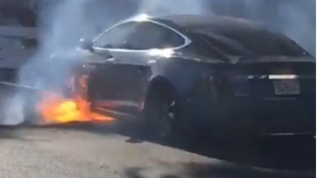 Tesla Model S bursts into flames