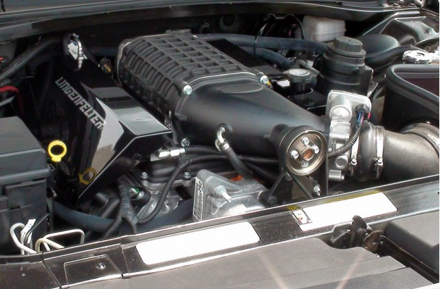 Dodge Challenger engine bay showing Lingenfelter supercharger