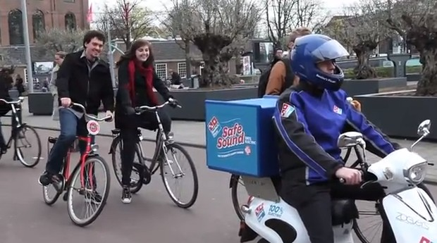 Domino's Human Electric Scooter Pizza Alert System