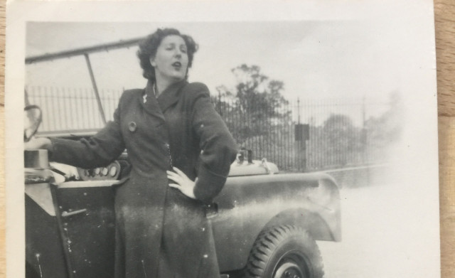 Dorothy Peters and a Land Rover Series 1 in 1948