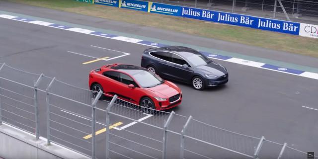Drag race between 2019 Jaguar I-Pace and Tesla Model X 100D electric cars [video: Jaguar]