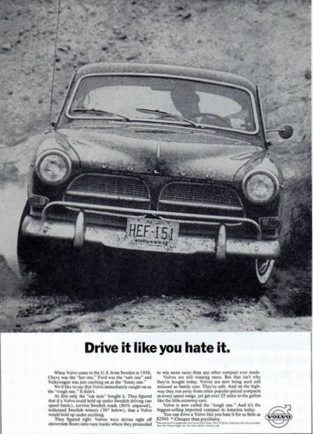 'Drive It Like You Hate It' Volvo ad from 1962