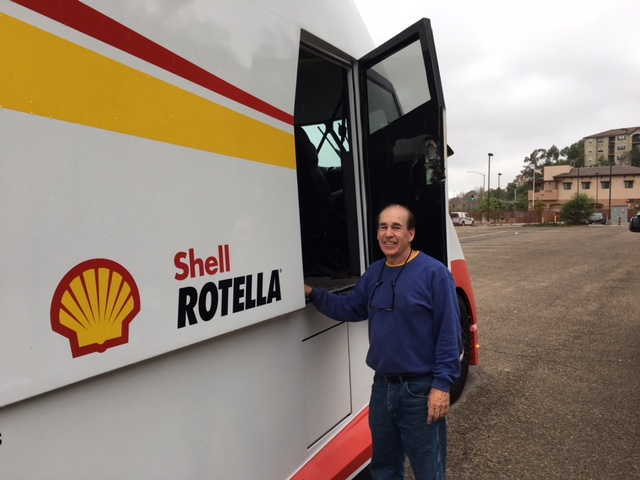 Driver and designer Bob Silwa with Shell Airflow Starship in San Diego, CA