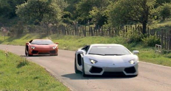 Dueling Lamborghini Aventador duo