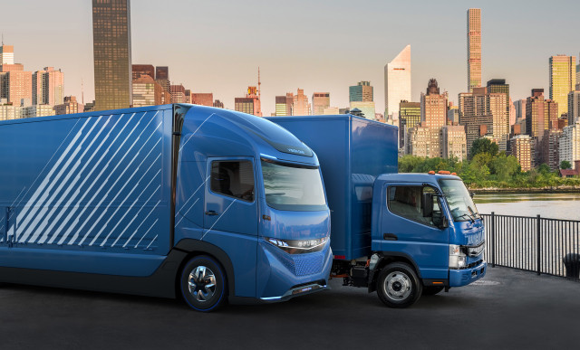 E-Fuso Vision One concept and Fuso eCanter electric trucks