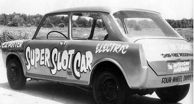 Super slot car electric drag racing via v 12 engine and for J and s motors