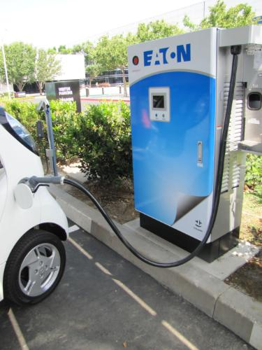 Eaton CHAdeMO DC quick charging station, Mitsubishi headquarters, Cypress, CA