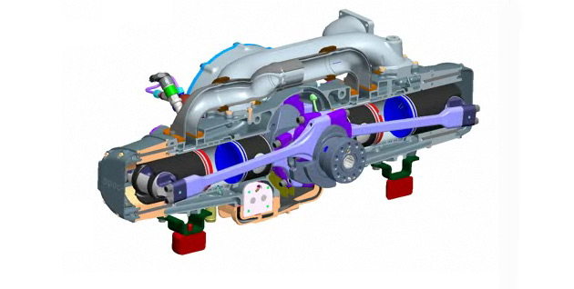 EcoMotors' opposed-piston opposed-cylinder engine is said to be 50% more efficient than a comparable turbodiesel engine