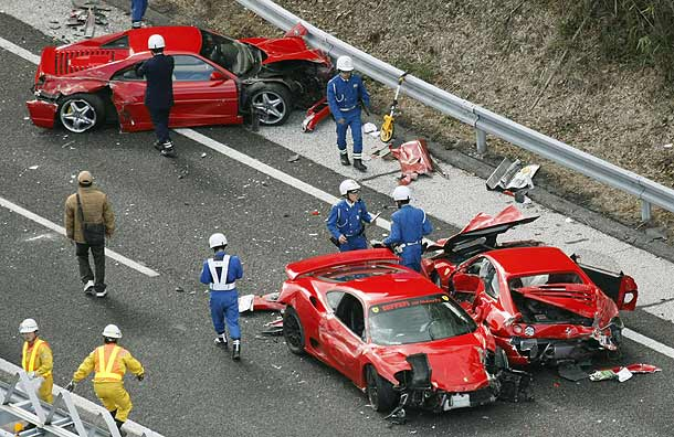 Eight Ferraris crash in expensive pile-up in Japan