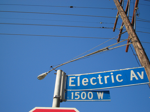 Electric Avenue street sign, Venice, CA, by Flickr user brookewill