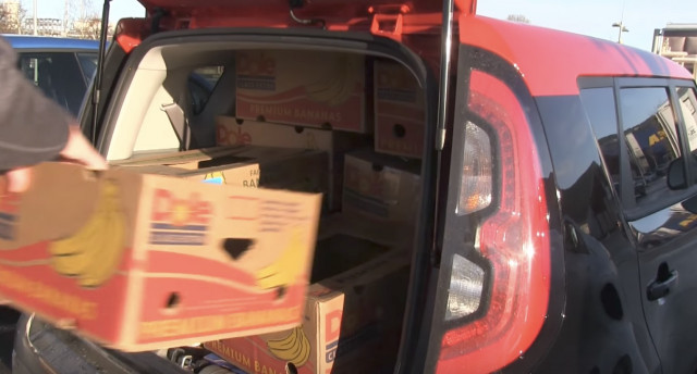 Electric car cargo space challenge with banana boxes
