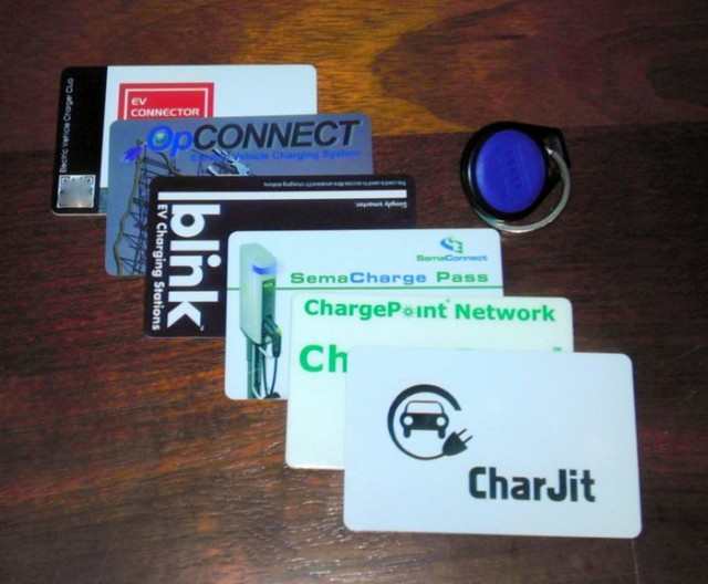 Electric-car charging network cards, photo by Patrick Connor, Portland