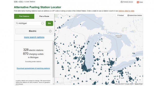 Electric-car charging stations in Michigan, June 2017 [U.S. Energy Information Authority AFDC]