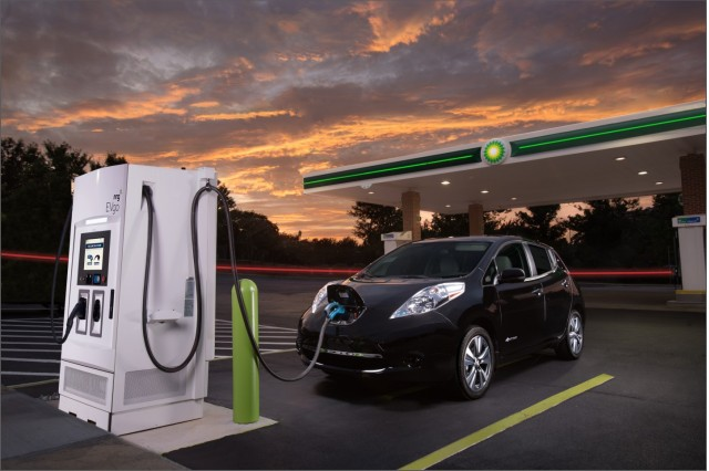 Nissan Leaf electric car using DC fast-charging station at BP in Metrolina area of Charlotte, NC