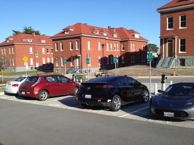 Electric cars at charging stations at Disney Family Museum, San Francisco [photo: Wendy Bartlett]