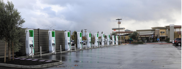 Electrify America DC fast chargers at San Francisco Premium Outlets, Livermore, California