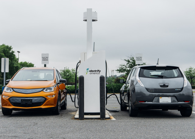 Electrify America Level 2 chargers with Chevrolet Bolt and Nissan Leaf